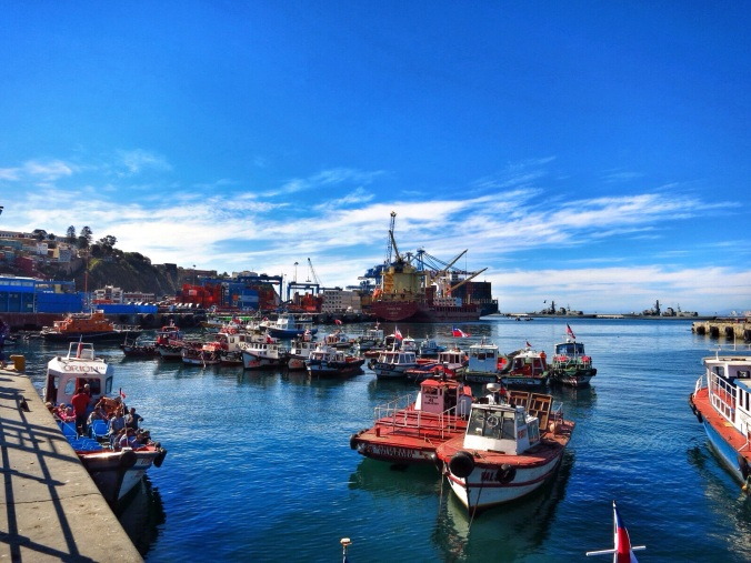 The docks of modern-day Valparaíso.